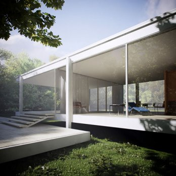 Farnsworth House/by Mies van der Rohe, Ext.Bug tree_Peter Guthrie_MsAISa3