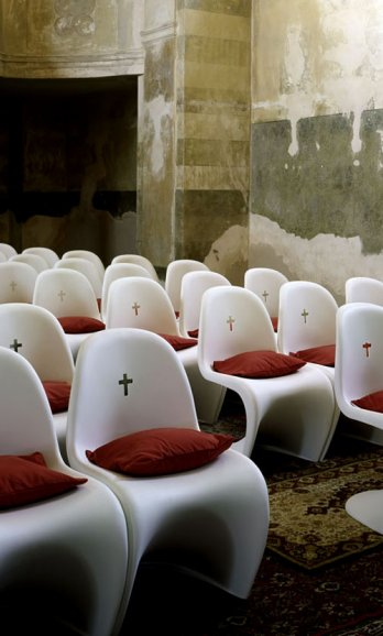 Verner Panton/Panton chairs_St. Bartholomew's Church by QUBUS in the village of Chodovice, Eastern Bohemi