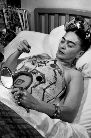 Frida Kahlo in a hospital bed, drawing her corset with help of a mirror, 1951_Collection Galeria L�pez Quirog_Juan Guzm�n
