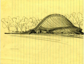 Eero Saarinen_Sketch of David S. Ingalls, Hockey Rink, Circa 1953_New Haven, Connecticut_USA