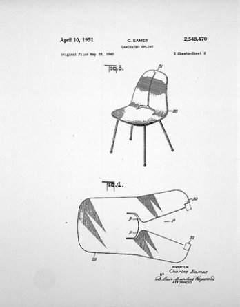 Charles & Ray Eames, Patent Drawing for plywood Chair, 1942_USA