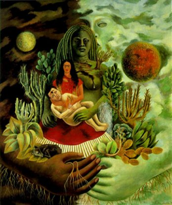 Frida Kahlo_L'étreinte d'amour de l'univers, the Earth (Mexico), Me and Senor Xolotl, 1949_Collection of Jorge Contreras Chacel_Mexico