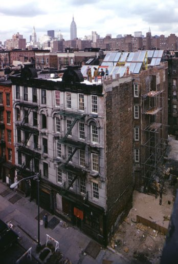 Solar collectors installed on roof top at 519 East 11th Street, NYC, ca. 1976. Jon Naar