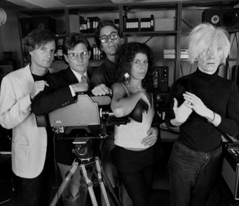 WARHOL TV/Andy Warhol, and Andy Warhol with his team. From left to right- Don Munroe, Vincent Fremont, Jay Shriver, Sue Etkin. New York, 1985. Photographer- Christopher Makos